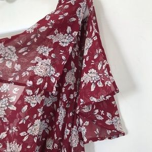 Forever 21 Dresses - Forever 21 Maroon Floral Dress Plus Size